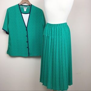 vintage spotted two piece top & midi skirt set